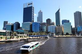 A Ferry Departs Elizabeth Quay With Perth Skyline In Background