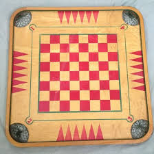 Vintage Wooden Board Game Carrom Crokinole Checkers Chess 85