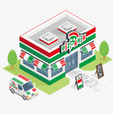 Pizza Shop Outside Selling Cars Clipart Building PNG And
