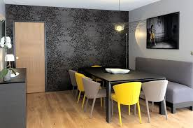 Awesome Dining Room Layout With Yellow And Grey Color Accent