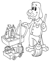 Free Pages Printable From Cleantitsupply Mop Drawing Coloring