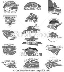 Road Travel Company Or Agency Vector Icons Set