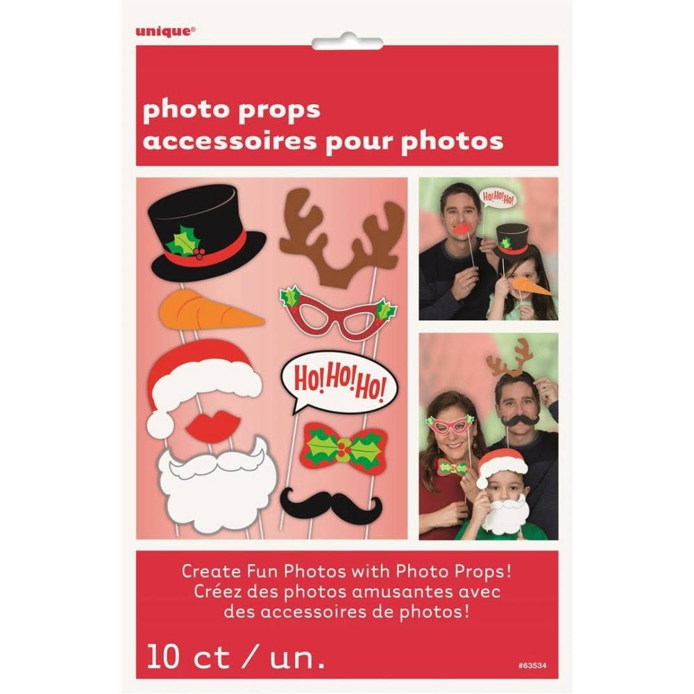 Christmas Photo Booth Props - Pack of 10