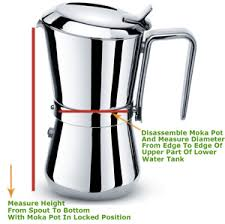 Diagram Showing How To Measure A Giannina Espresso Maker In Order Determine Size Of Replacement