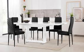 100 White Gloss Extending Dining Table And Chairs Tokyo High With 6 Renzo Black