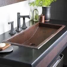Install Overmount Bathroom Sink by Trough 36 36 Inch Rectangular Copper Bathroom Sink Native Trails