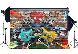 RBabyPhoto Hip Hop Backdrop 9X6FT Graffiti Hand Drawing Pictures On Shabby Brick Wall Guitar Band Rock