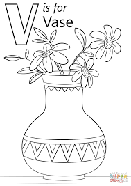 Click The Letter V Is For Vase Coloring Pages