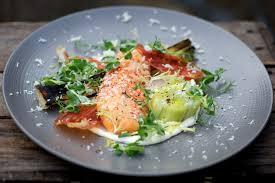 Pumpkin Ravioli Sage Butter Mkr by Quick Smoked Sea Trout With Leeks Vinaigrette Crispy Air Dried