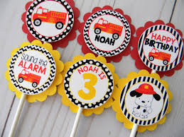 100 Fire Truck Cupcake Toppers Truck Truck Party Truck