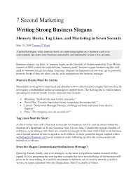 7 Second MarketingWriting Strong Business SlogansMemory Hooks Tag Lines And Marketing In Seven SecondsMay