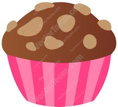Chocolate Cupcake With Nuts Top Cartoon Clipart