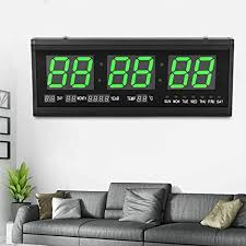 digital led wanduhr mit kalender datum temperatur wohnzimmer uhr 24 stunden anzeige fur arbeitszimmer öffentlicher ort büro 48x19cm grün