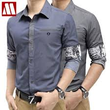 HOT 2017 New Spring Fashion Brand Trend Men Contrast Color Slim Fit Shirts Long Sleeve Shirt Mens Casual Social S XXXL In From