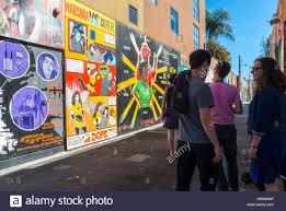 san francisco ca usa group teens enjoying wall street art