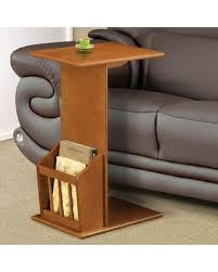 holiday sale oak finish wood slide under sofa chair side table
