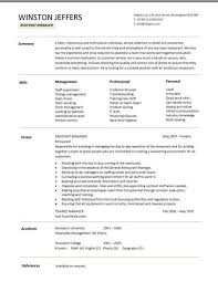 Restaurant Assistant Manager Resume Templates CV Example Job Description Cover Letter Format