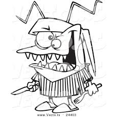 Vector Of A Cartoon Hungry Bed Bug Holding Silverware