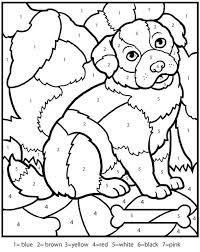 Kindergarten Animals Color By Number Counting Numbers Worksheets Puppy