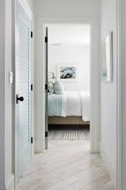Blue Louvered Closet Door Transitional Bedroom