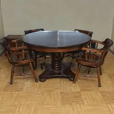 Vintage American Empire Inspired Oak Dining Table With Chairs By Kling Colonial