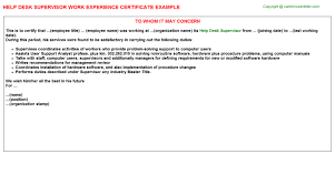 Service Desk Software Requirements by Help Desk Supervisor Work Experience Certificate