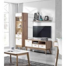 wohnzimmer modulsystem vitrine tv schrank wandboard eiche weiss matt