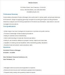 Assistant Finance Manager Resume Sample