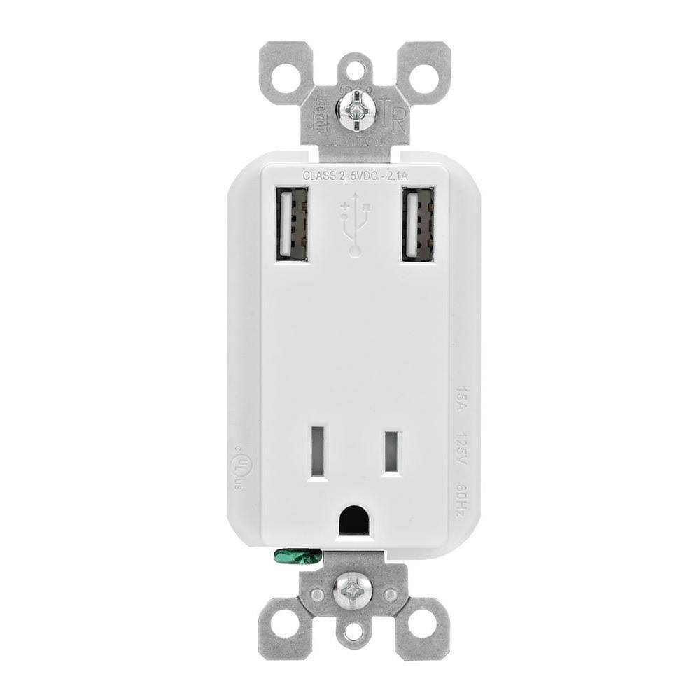 Leviton USB Charger And Receptacle - White, 15A