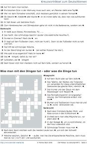 kreuzworträtsel zum deutschlernen dinge in der wohnung