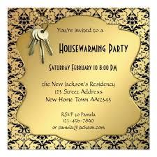 Gold Damask Housewarming Party Invitation
