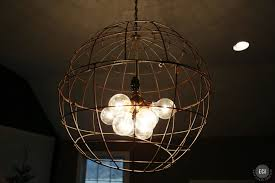 Decorations Globe Brushed Copper Wire Pendant Light Shade Gold Stain Socket Black Metal Holder Chain