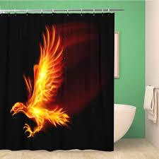 badezimmer dusche vorhang rot feuer raster flaming hawk auf