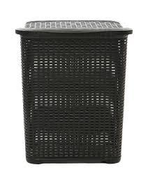 rattan optik wäschekorb 45 liter schwarz