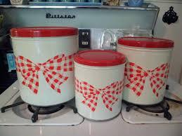 Red Kitchen Canister Sets And Vintage Set 3 Metal Kitchen