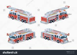 Fire Truck 3 D Lowpoly Isometric Vector Stock Vector (Royalty Free ...
