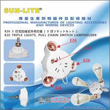 Sun Lite Lamp Holder by E26 Triple Lights Pull Chain Switch Lampholder E26 30