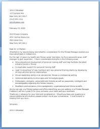 Fitness Instructor Resume Sample Manager Cover Letter Personal Trainer