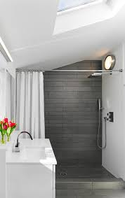 grey shower tile Bathroom Modern with chrome fixtures Corian