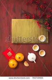 Flat Lay Chinese New Year Food And Drink Still Life On Rustic Wooden Background Translations