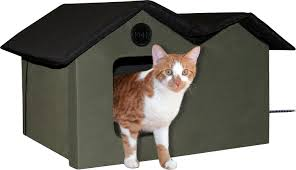 Kh Thermo Kitty Heated Cat Bed by K U0026h Pet Products Extra Wide Outdoor Heated Kitty House Olive