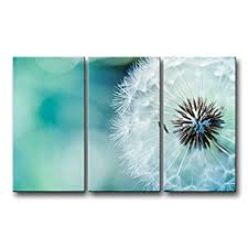 3 Piece Wall Art Painting Nature Flowers Dandelions White Prints On Canvas The Picture Flower