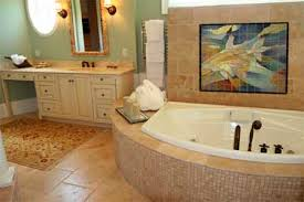 Abstract Tile Mural Above Bathtub In Traditional Bathroom Design