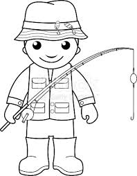 Fisherman Coloring Page For Kids Stock Vector Art 486267198