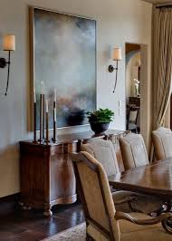 Mediterranean Dining Room Features Warm Colors And Rich Woods