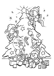 Christmas Tree Coloring Pages Printable by Tree And Elves Coloring Pages For Kids Printable Free