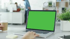 3d Close Up Of A Mans Hands Working On Green Screen Laptop