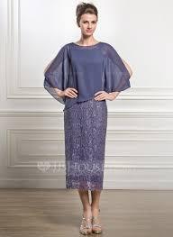 sheath column scoop neck tea length chiffon lace mother of the