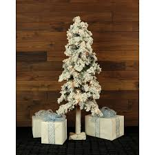 Fraser Hill Farm Set Of 3 Snowy Alpine Trees With Clear Lights 2 Ft
