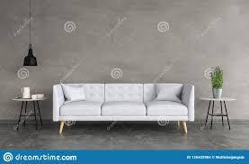 graues sofa im wohnzimmer wiedergabe 3d stock abbildung